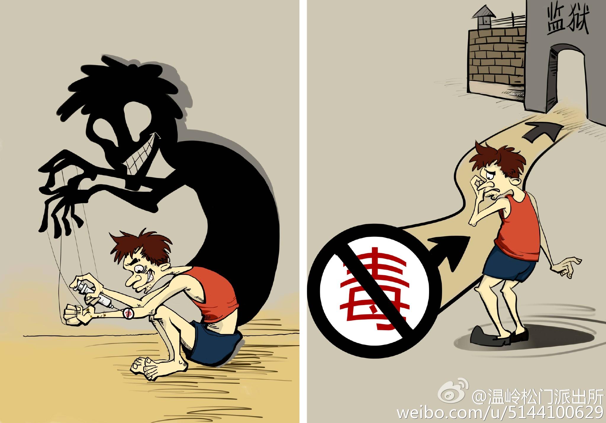 禁毒漫画简笔画卡通